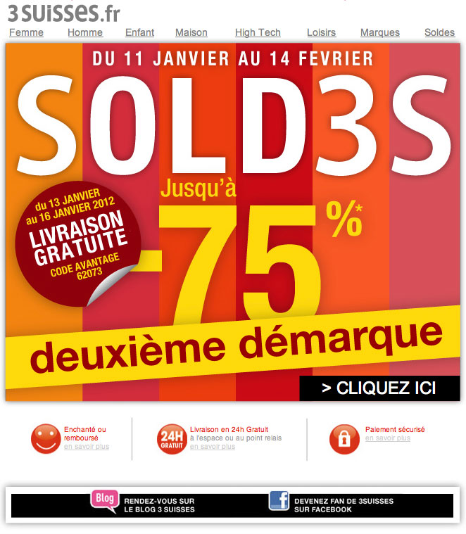 Newsletter 3suisses 130112