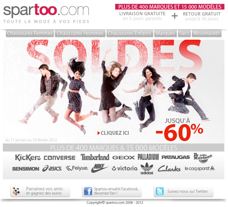 Newsletter Spartoo 110112