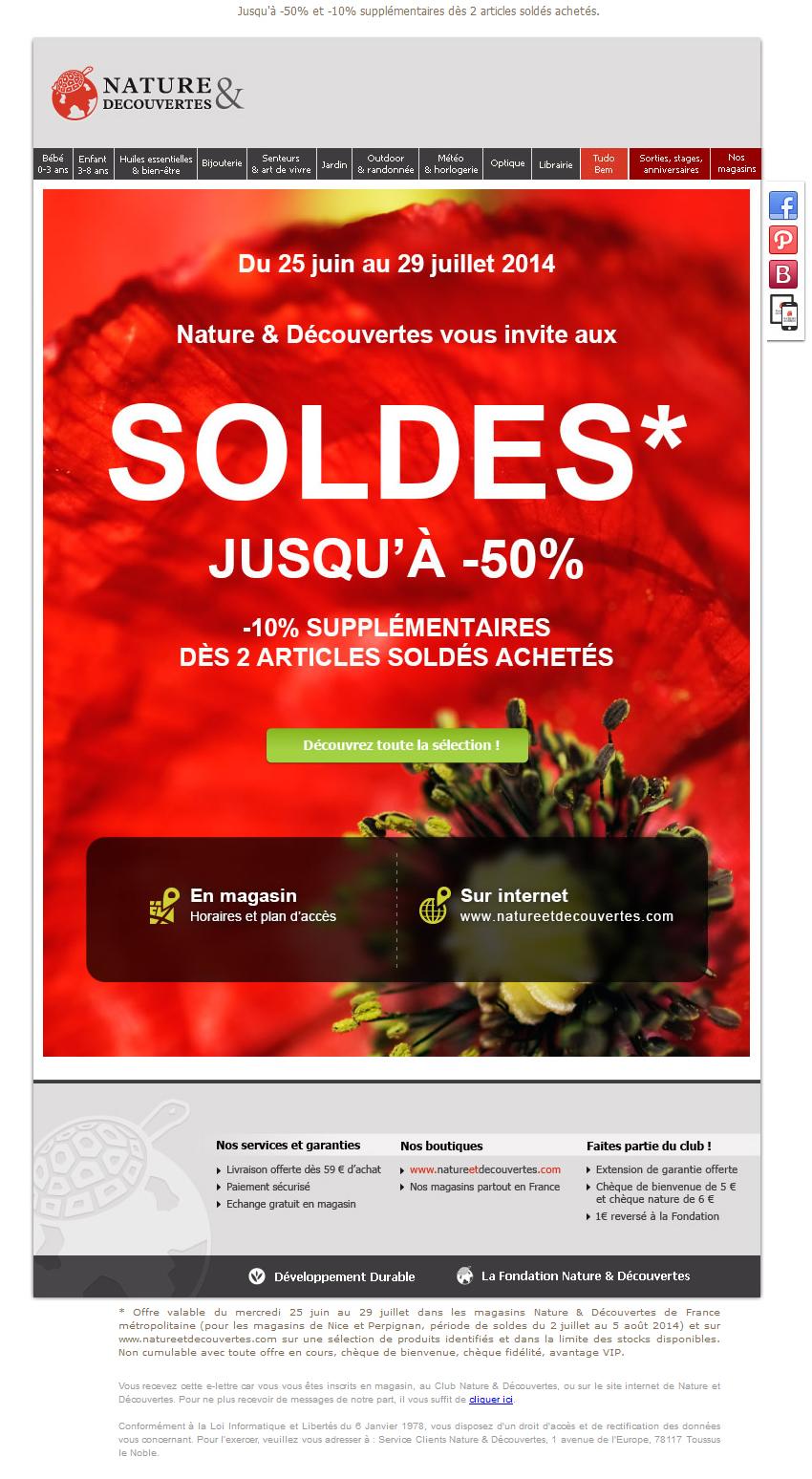 Galerie De Newsletters Nature Et D 233 Couvertes Les Soldes
