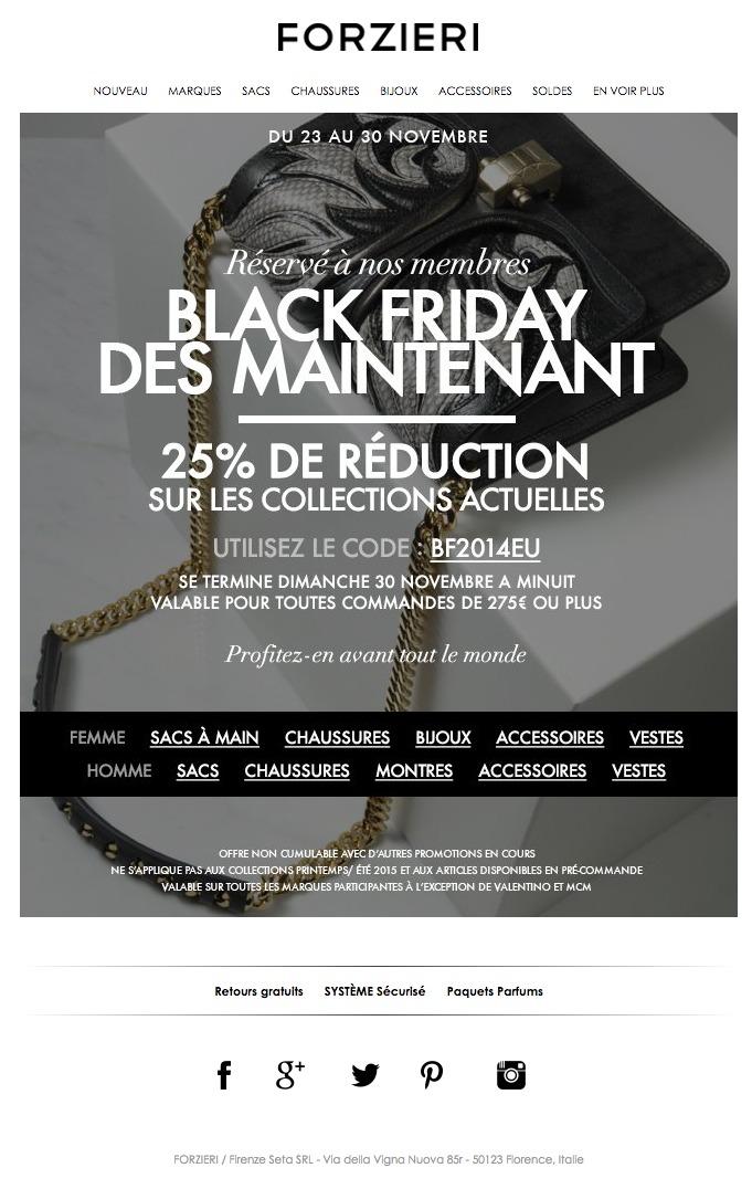 galerie de newsletters forzieri black friday c 39 est tout de suite 25 de r duction en. Black Bedroom Furniture Sets. Home Design Ideas