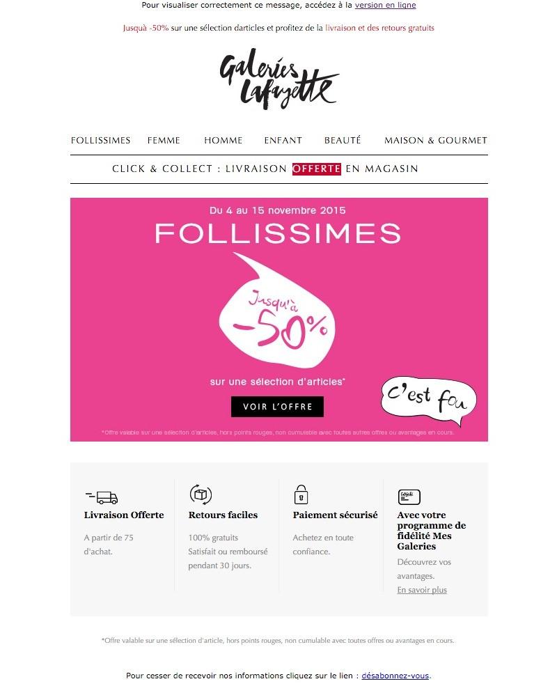 newsletter de Galeries Lafayette du 8 novembre 2015