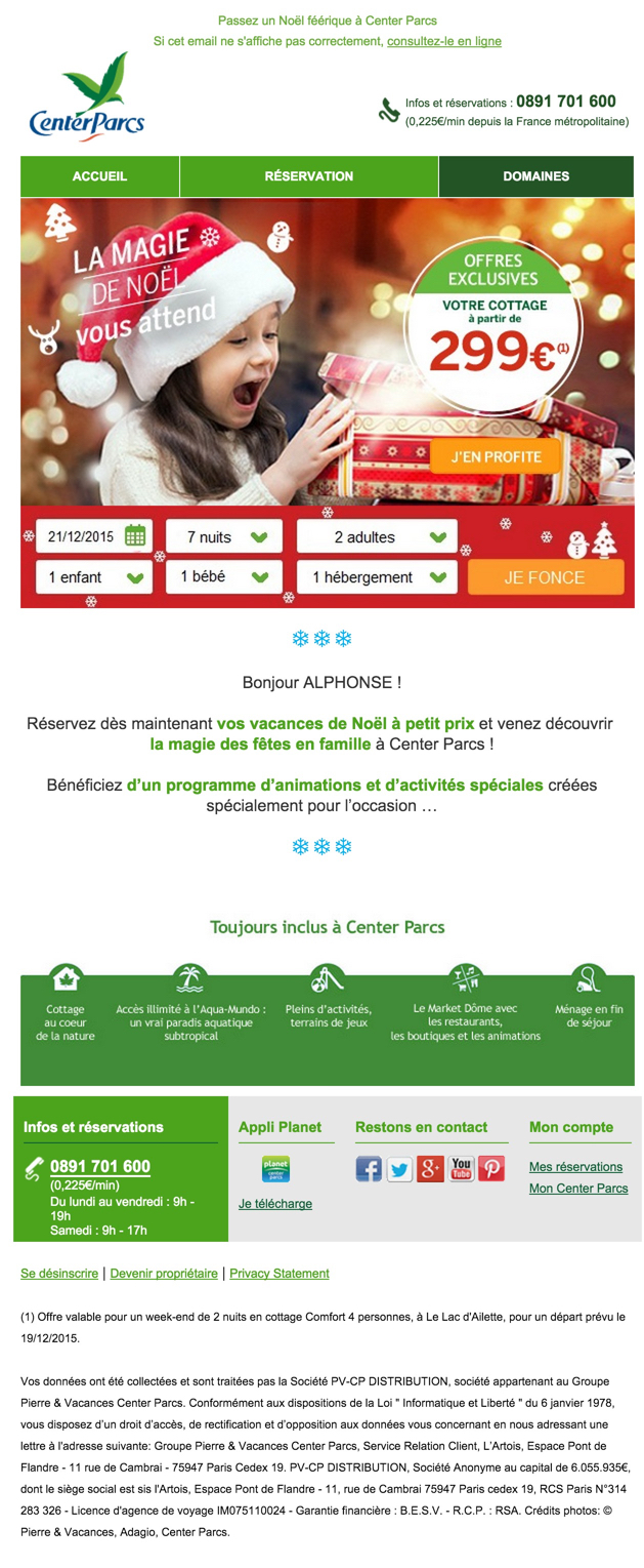 newsletter center parcs du 20 novembre 2015