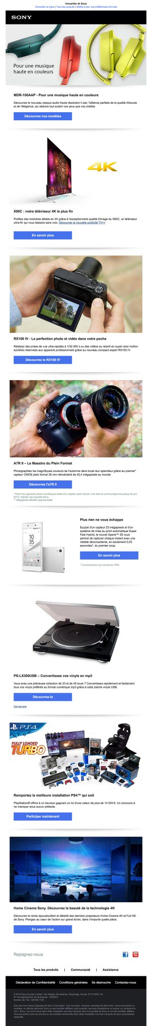 newsletter sony du 17 novembre 2015