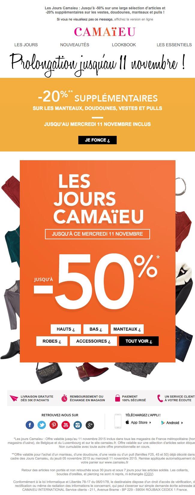 newsletter Camaïeu du 6 novembre 2015