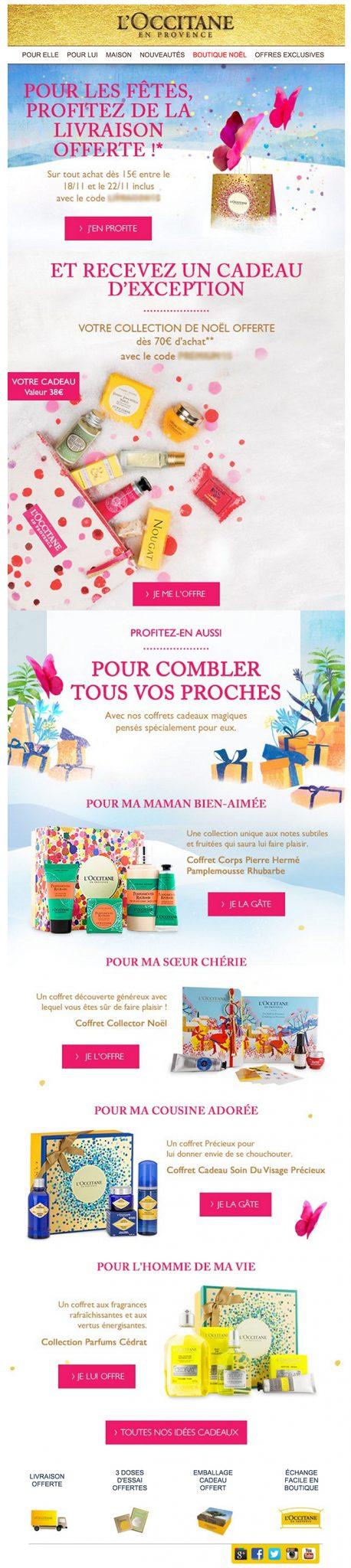 newsletter l'occitane en provence du 18 novembre 2015